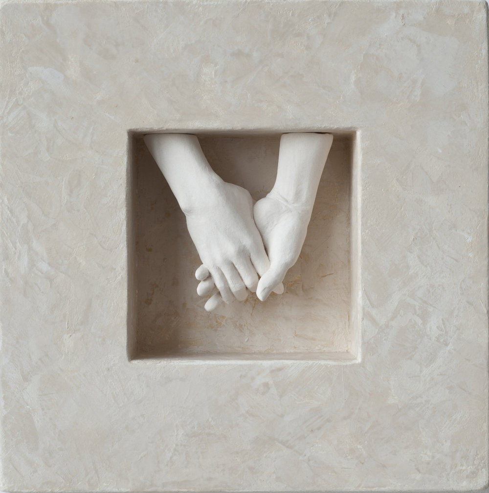 HOLDING HANDS, Porcelain, Wood, Plaster and Paint, 7 1/2 x 7 1/2 x 2""