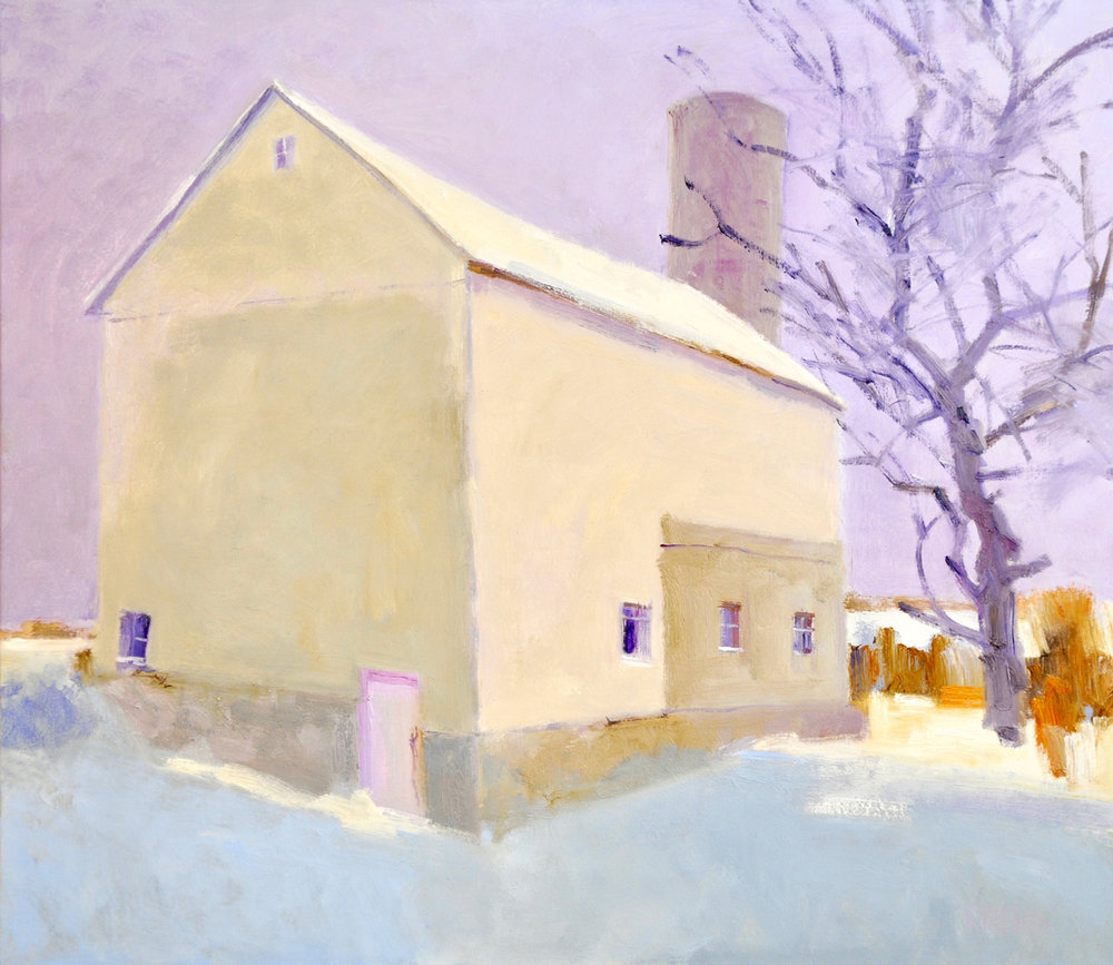 WHITE BARN IN WINTER, Oil on Linen, 40 x 46""