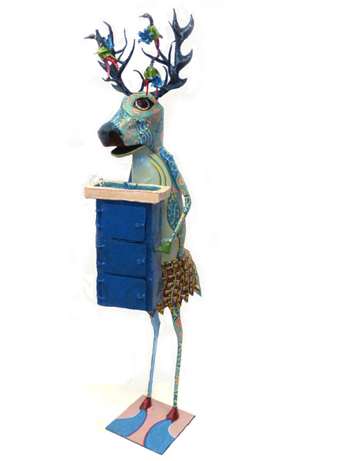 "ODE TO EAU DEER AND THE SMALLER SPLASHES OF YESTERYEAR, Painted Steel, 48 x 18 x 12"" - $2,500"