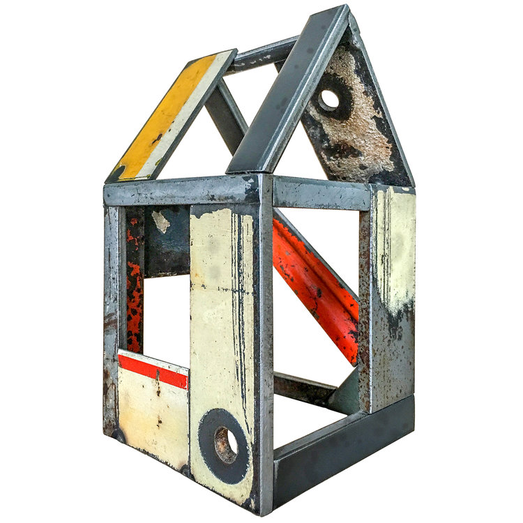 "STRUCTURE NO. 164, Found Painted Steel, 7 x 4 x 4"" - $525"