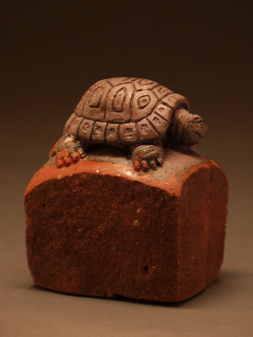 "GREY TORTOISE, Carved Vintage Brick, 4 x 3 1/4 x 2 1/2"" - $750"