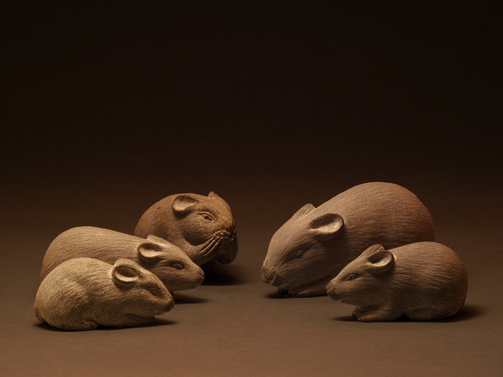 MICE, Carved Basalt - $400-$550