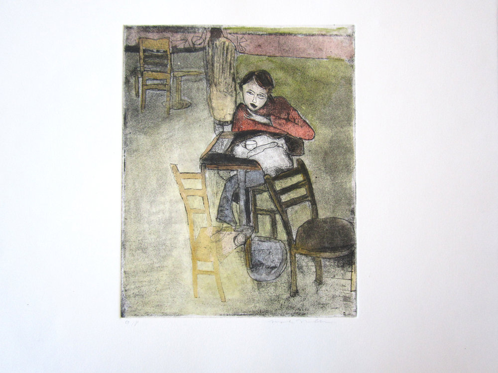 "UNTITLED (Sitting Man in Red), Hand Colored Etching, 9 1/2 x 7 1/2"" framed 18 x 21"" - $550"