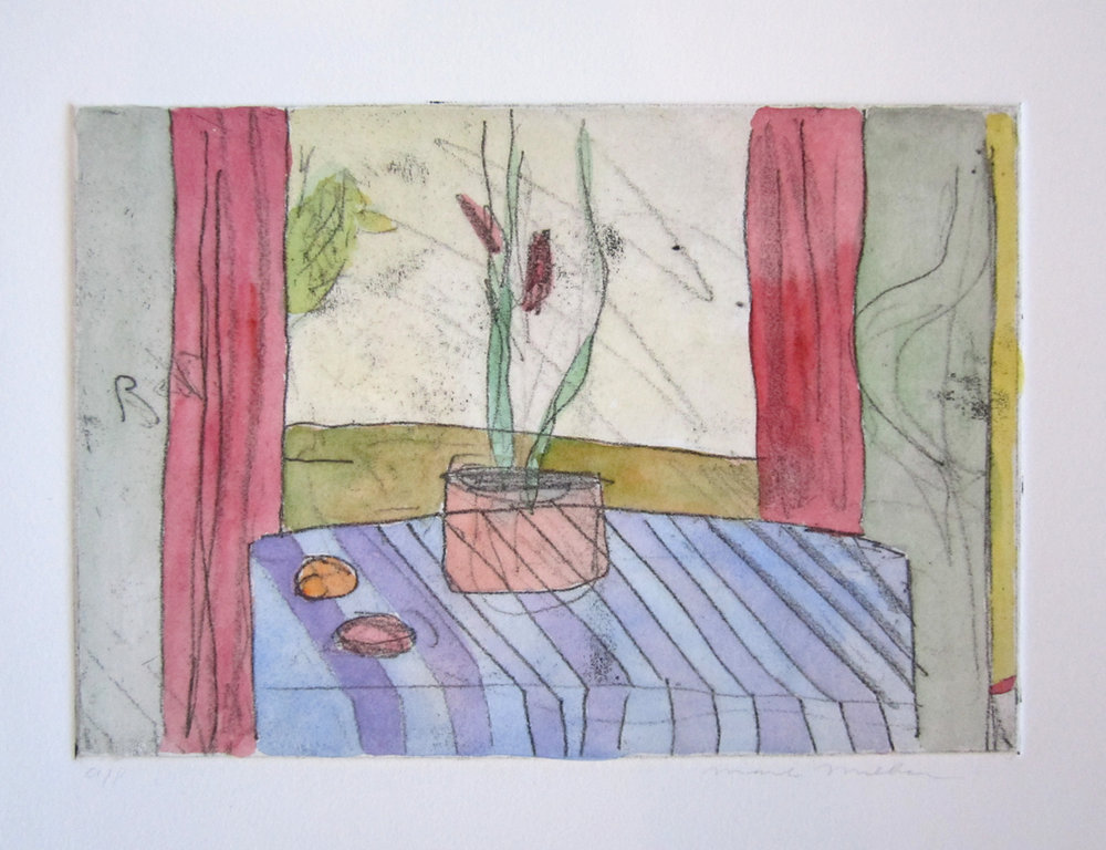 "UNTITLED (FLOWERS ON A TABLE), Hand-Colored Etching, 6 x 8 3/4"" image size 15 x 17"" paper size - $450"