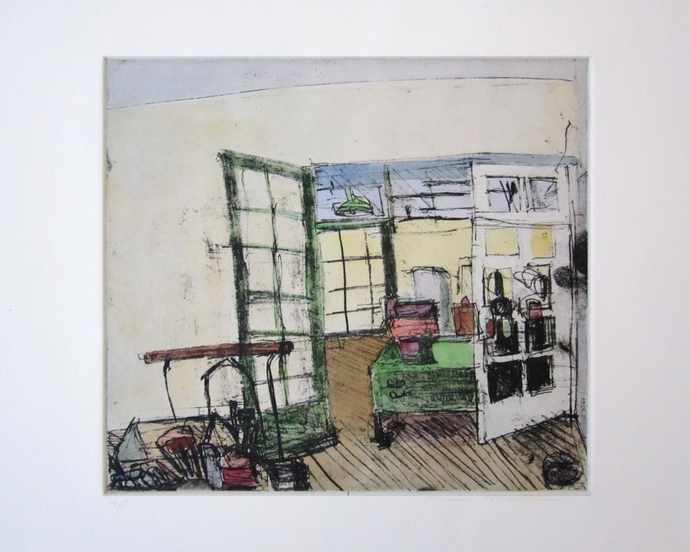 "UNTITLED (STUDIO), Hand-Colored Etching, 9 1/2 x 10 1/2"" image size 15 x 18"" paper size - $450"