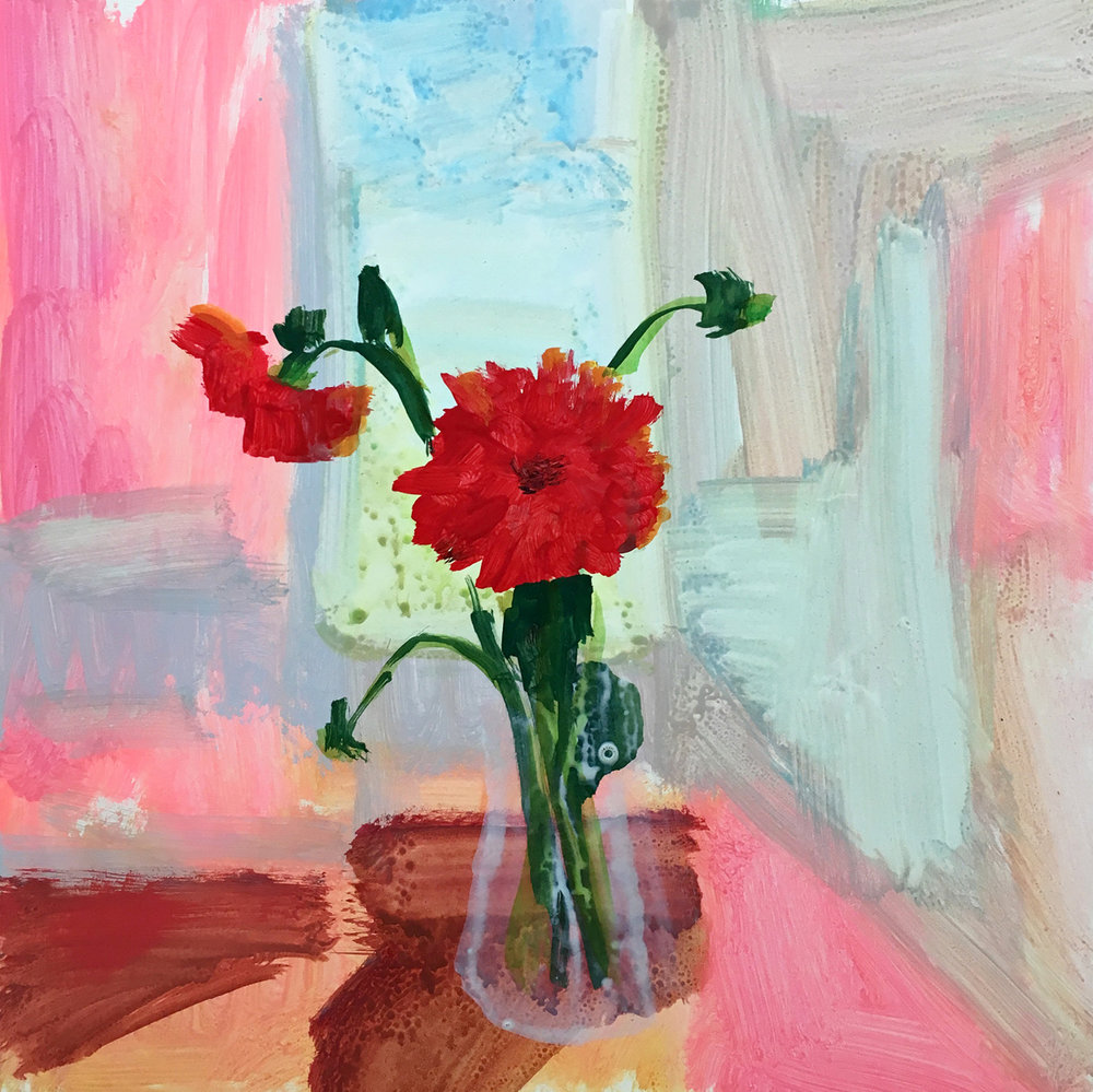 "SCARLET DAHLIA, Acryla-Gouache and Flashe on Clayboard, 12 x 12"" - $1,600"