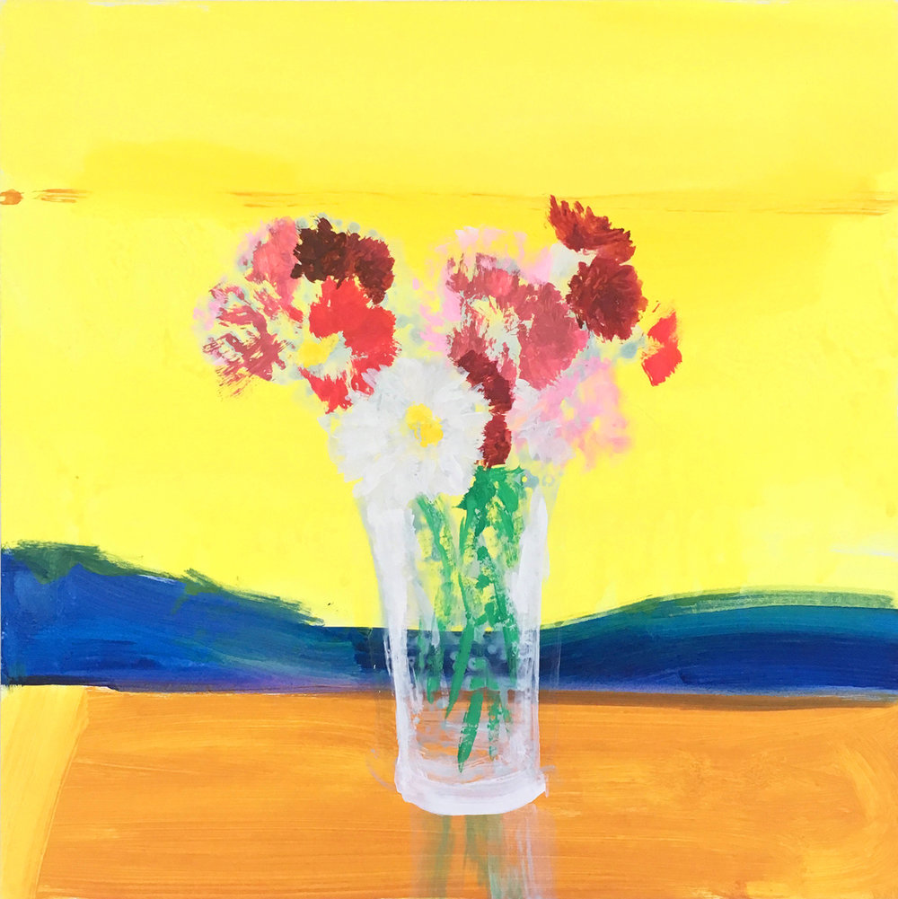"SUNRISE BOUQUET, Acryla-Gouache and Flashe on Clayboard, 12 x 12"" - $1,600"