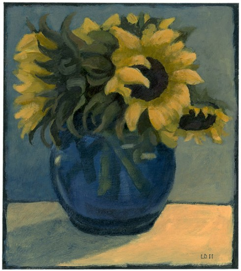 "SUNFLOWERS IN A BLUE VASE II, Acrylic on Paper Mounted on Panel, 9 x 8"" framed 11 1/4 x 10 1/4"" - $1,250"
