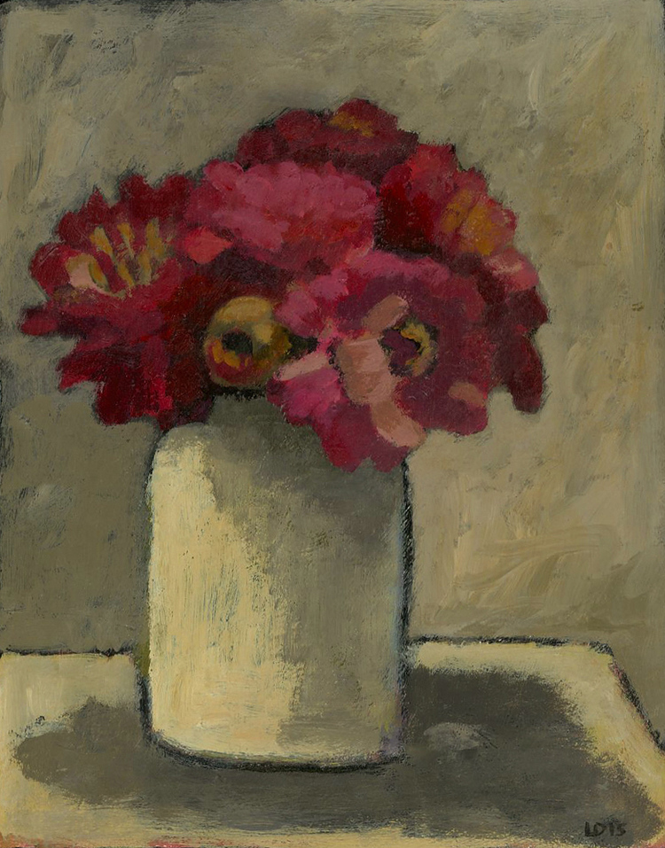 "MARIGOLDS IN A WHITE JAR, Acrylic on Paper, 10 x 8"" - $1,350"