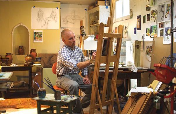 Jeffrey Ripple in his studio.