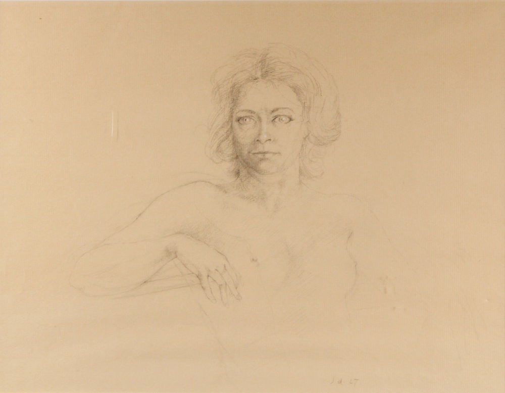 PORTRAIT OF S.G.W., 1967, Graphite on Paper Heightened with While Chalk, 12 1/2 x 16""