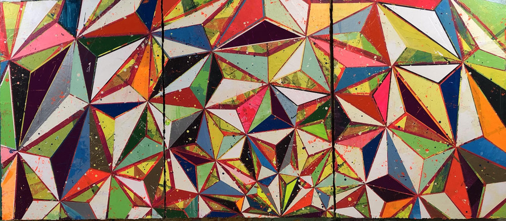 "OUTWARD, Acrylic on 3 Linen Panels, 24 x 55"""