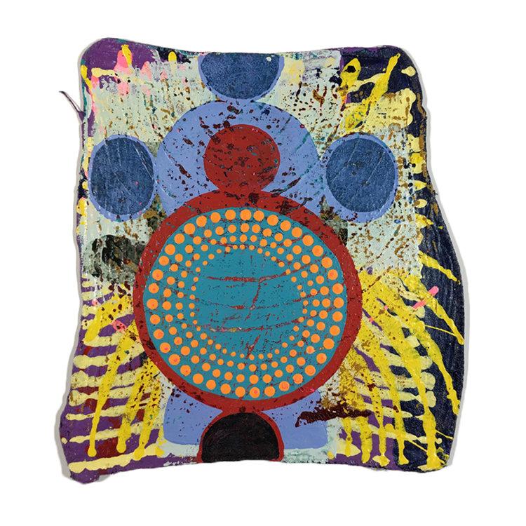 "SCOUT, Acrylic on Shop Rag, 15 x 14"""