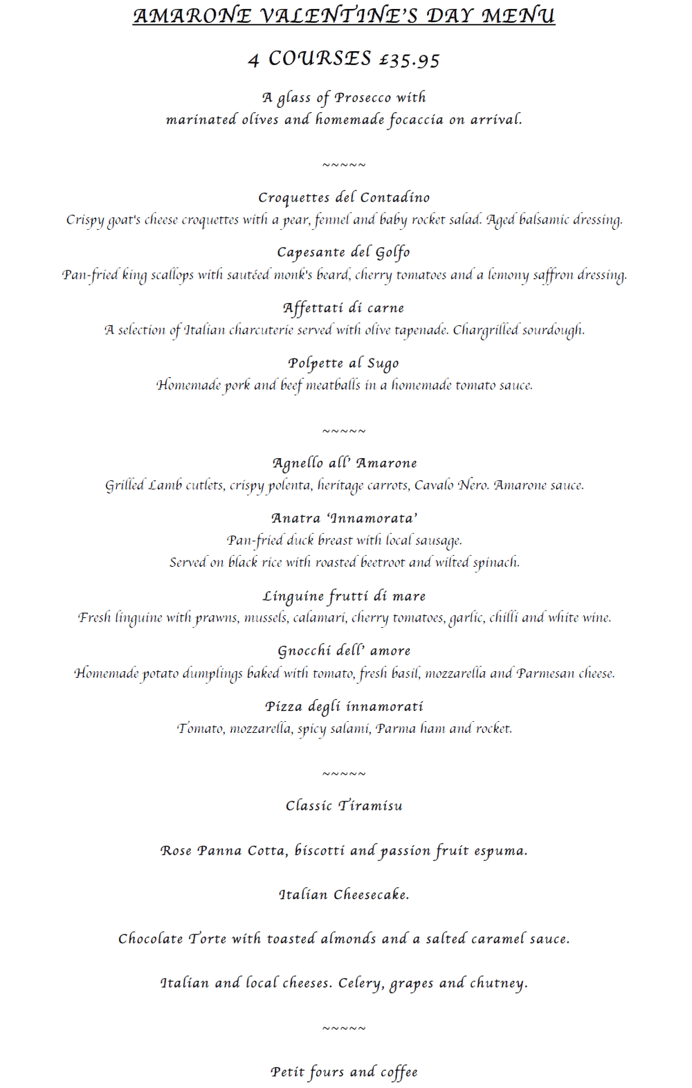 Amarone Valentines Day Menu