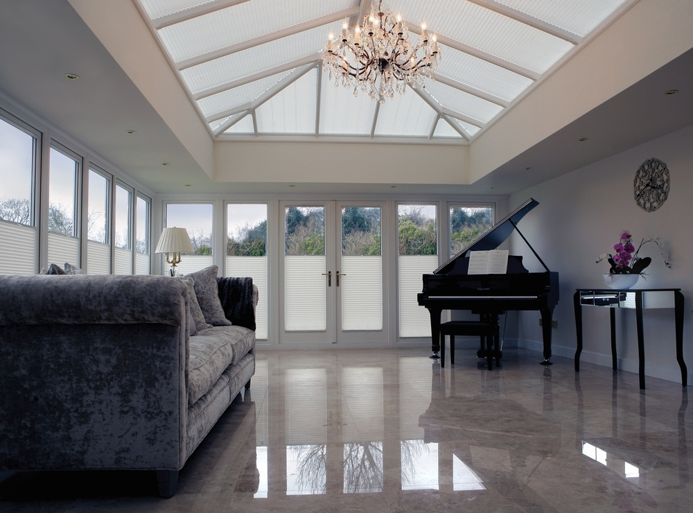 PR PW B5019 YC9A1260 Half closed.jpg - Motorised roof blinds and matching cord tensioned manual windo blinds provide shade and protection in this Auburn Hill Orangery.jpg