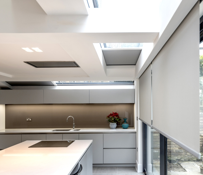 Concealed blinds in kitchen extension