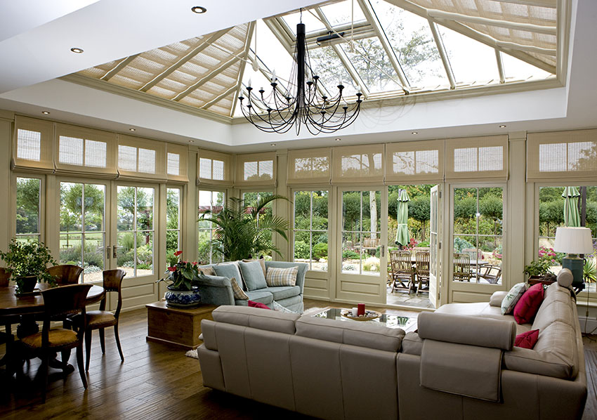 Blinds are concealed above cornice in this immaculate David Salisbury Orangery