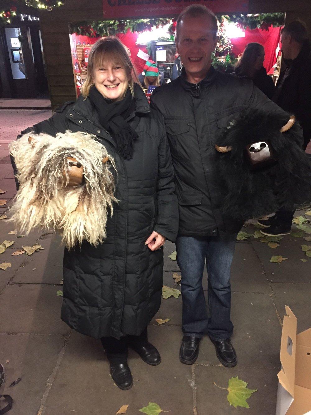 Jo with her Curly bull ( Nicky Port sheepskin ) Jo's friend with Big Belty
