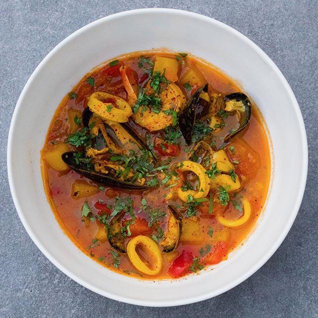 SOUP, Caldeirada De Peixe, Portuguese Fish Stew, Strawberry Grouper, Calamari, Tiger Prawn, Clams, White Wine, Tomato, Saffran, OLIVE VALENTINES 2019
