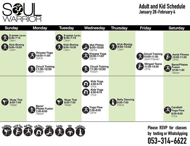 Check out our weekly classes 🙌🏼 we have something for everyone . . . #riyadhksa #studiolife #groupexercise #community #fitness #yoga #pilates #circuittraining #cardio #strength #fullyqualified #keepriyadhmoving #keepmoving #fitfam #motivationmonday