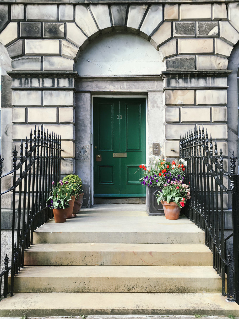 Pretty doorstep gardens in Edinburgh's New Town