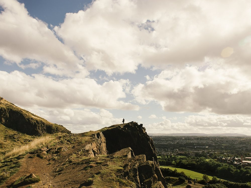 The clifftops of Salisbury Crags