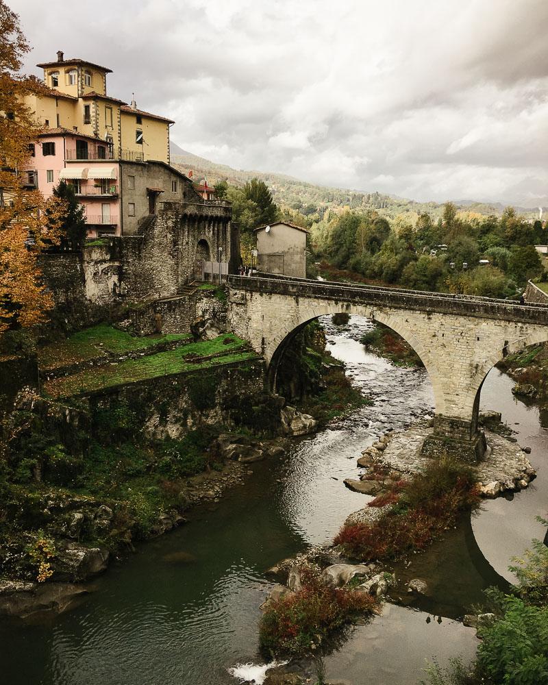 Castelnuovo di Garfagnana Italy bridge autumn