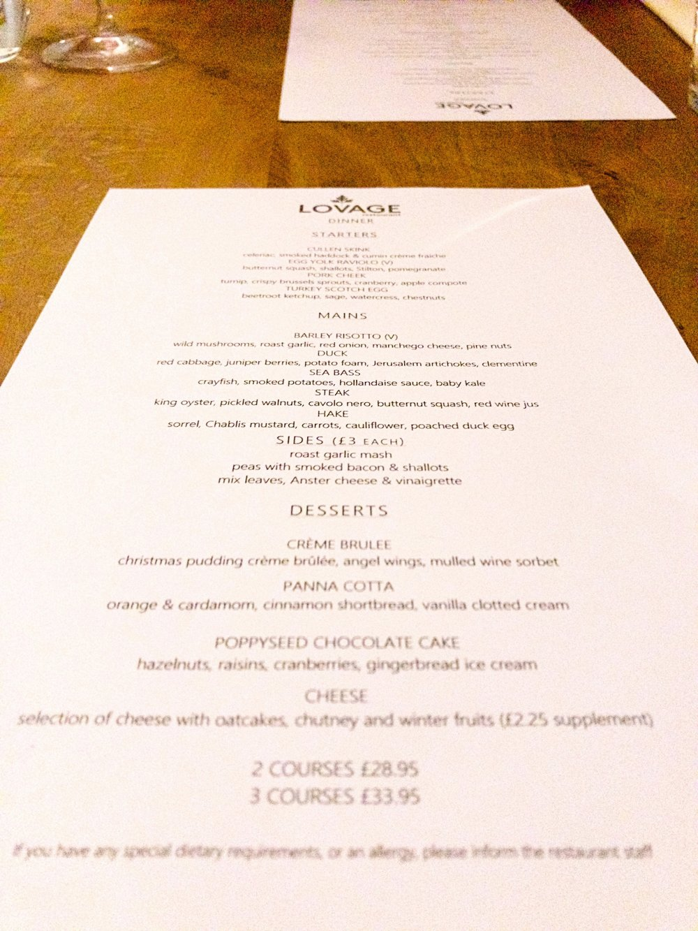 Lovage restaurant winter menu