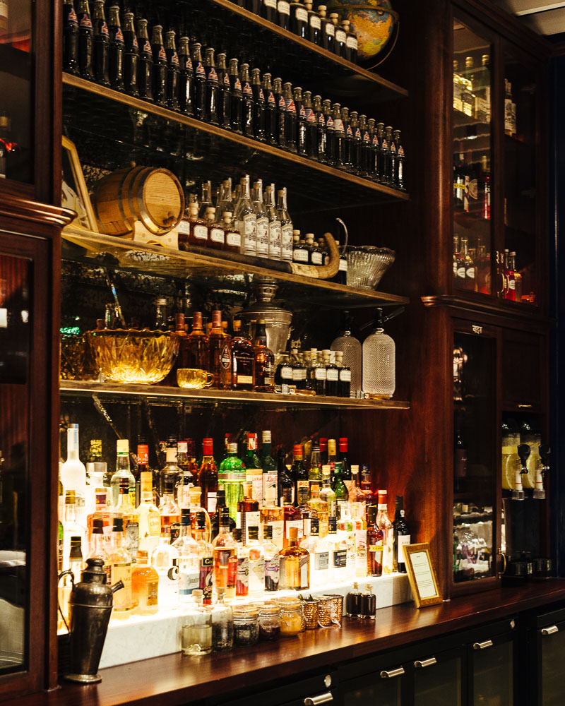 The well stocked permit room bar at Dishoom Edinburgh