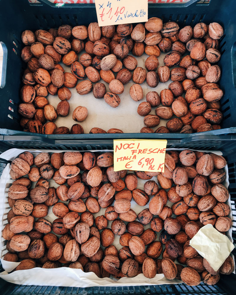 Italian walnuts for sale at a local market