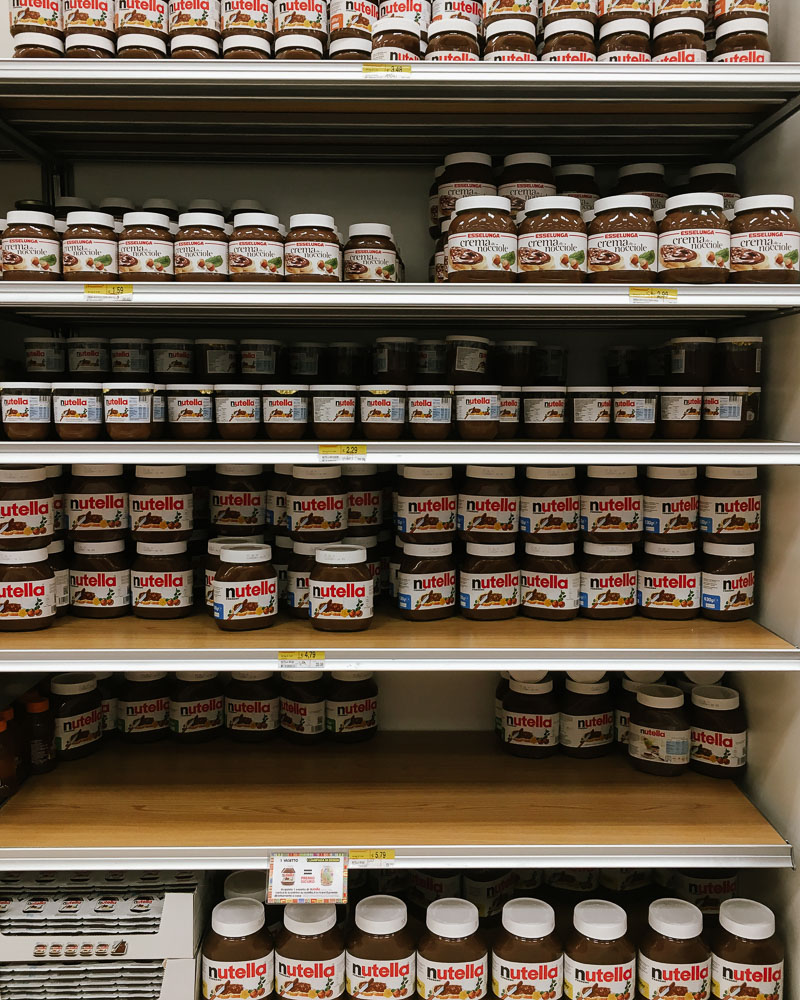 shelves of Nutella