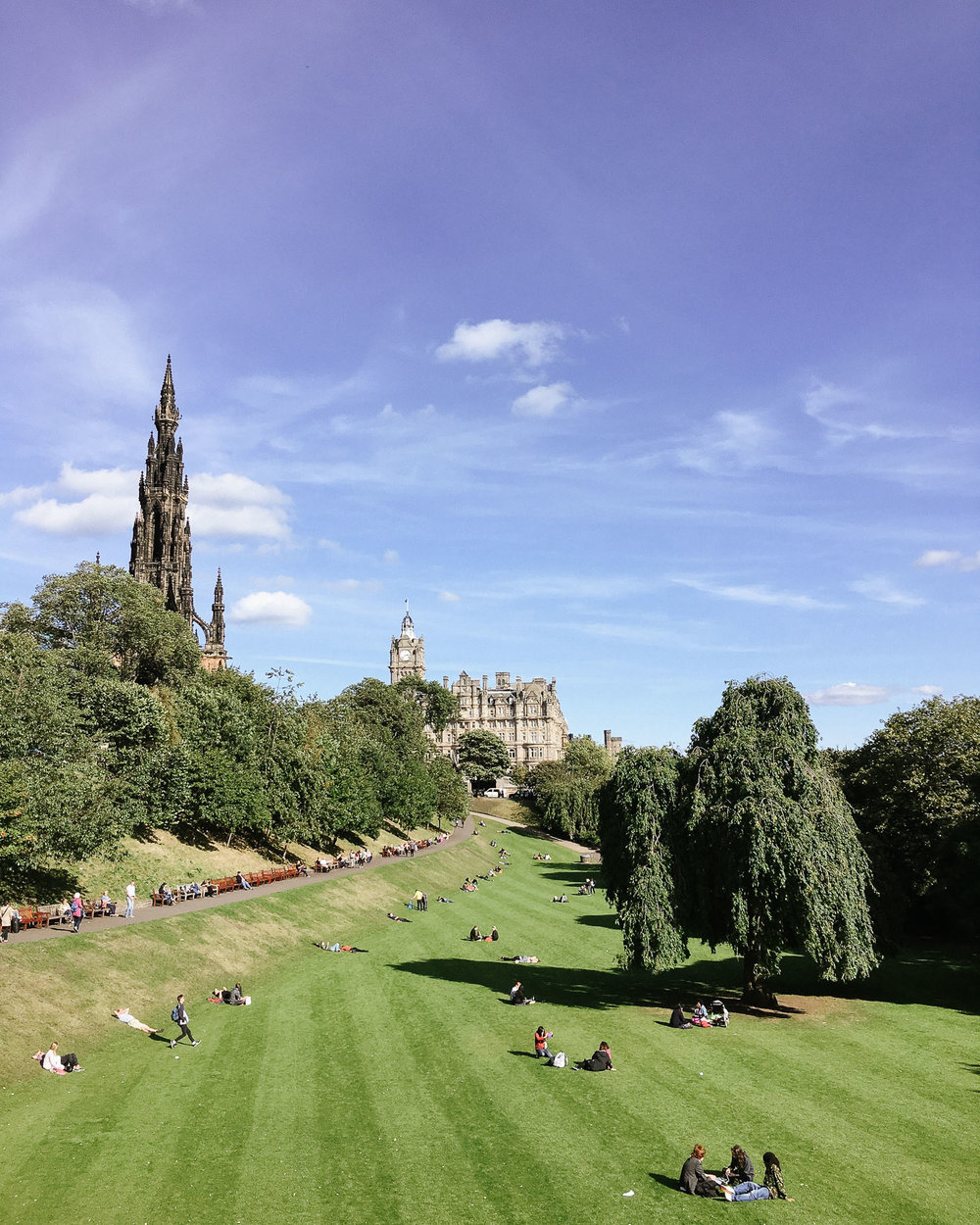 Princes St Gardens, Edinburgh, on a sunny day