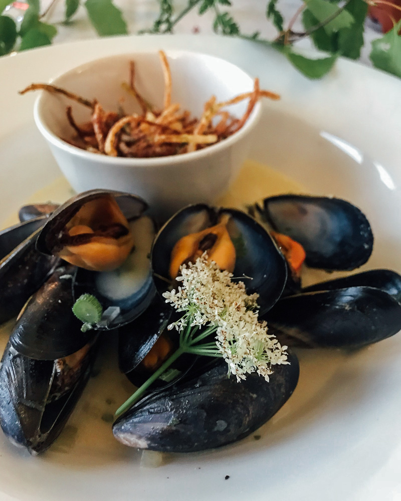 Mussels and sweet cicely with shoestring fries