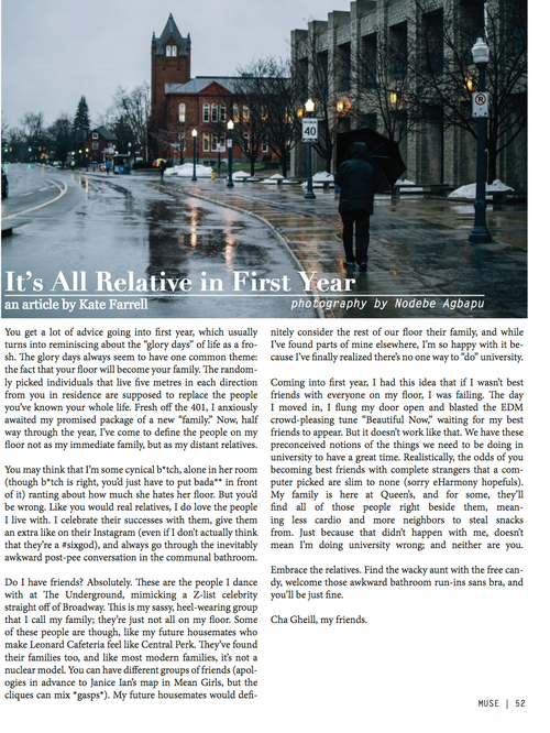 """""""It's All Relative In First Year - MUSE Print Publication https://issuu.com/musemagazine/docs/issuexiiissuucopy"""