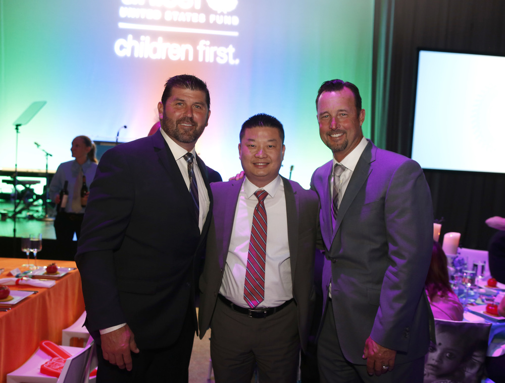 Jason Varitek, Boston Public Schools Superintendent Dr. Tommy Chang and Tim Wakefield at the 2016 Children's Champion Award Dinner.  ©Scott Eisen/Getty Images for UNICEF