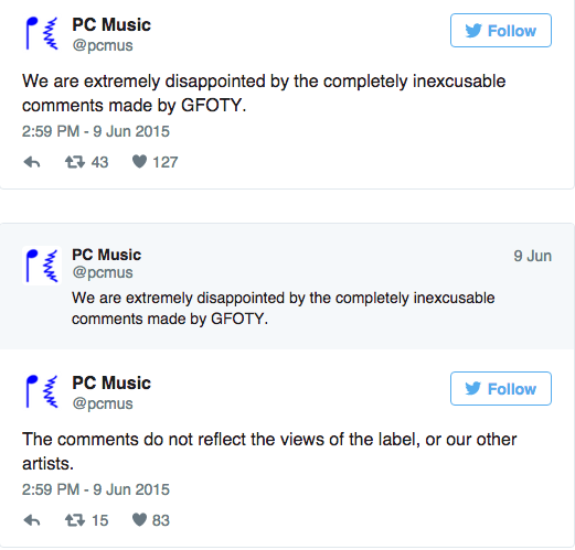 Fig 11: PC Music response to GFOTY racist comments June 9th 2015 available at:      https://twitter.com/pcmus    accessed 02/03/16