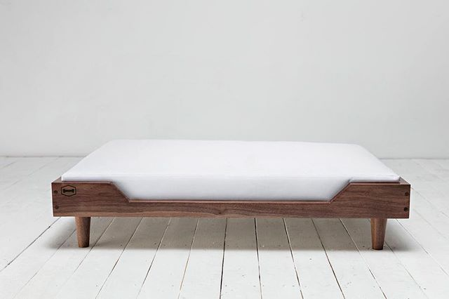 Dogs deserve nice things too! - Like our handmade Winston bed in Walnut & White Canvas.