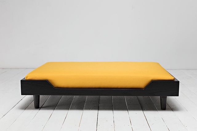 Our signature Winston bed in Ebonized Ash & Sunflower Canvas. - Know someone who needs to see this?? Tag them below! 👇🏼👇🏼👇🏼