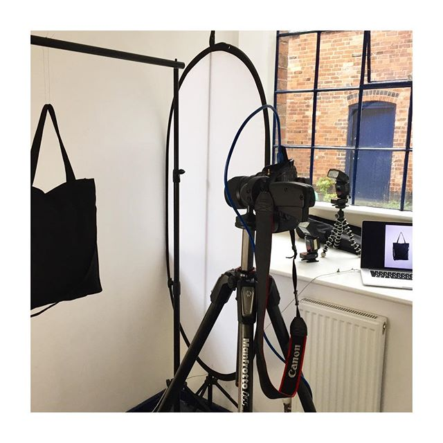 • In the studio with 📸@jackspiceradams • Taking some sweet snaps of our new handmade tote bags and backpacks • Stay tuned for the photos, online soon • Thanks Jack! 👌•