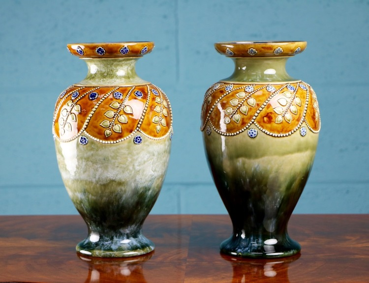 Pair Of Lambeth Doulton Vases Walcot And Co