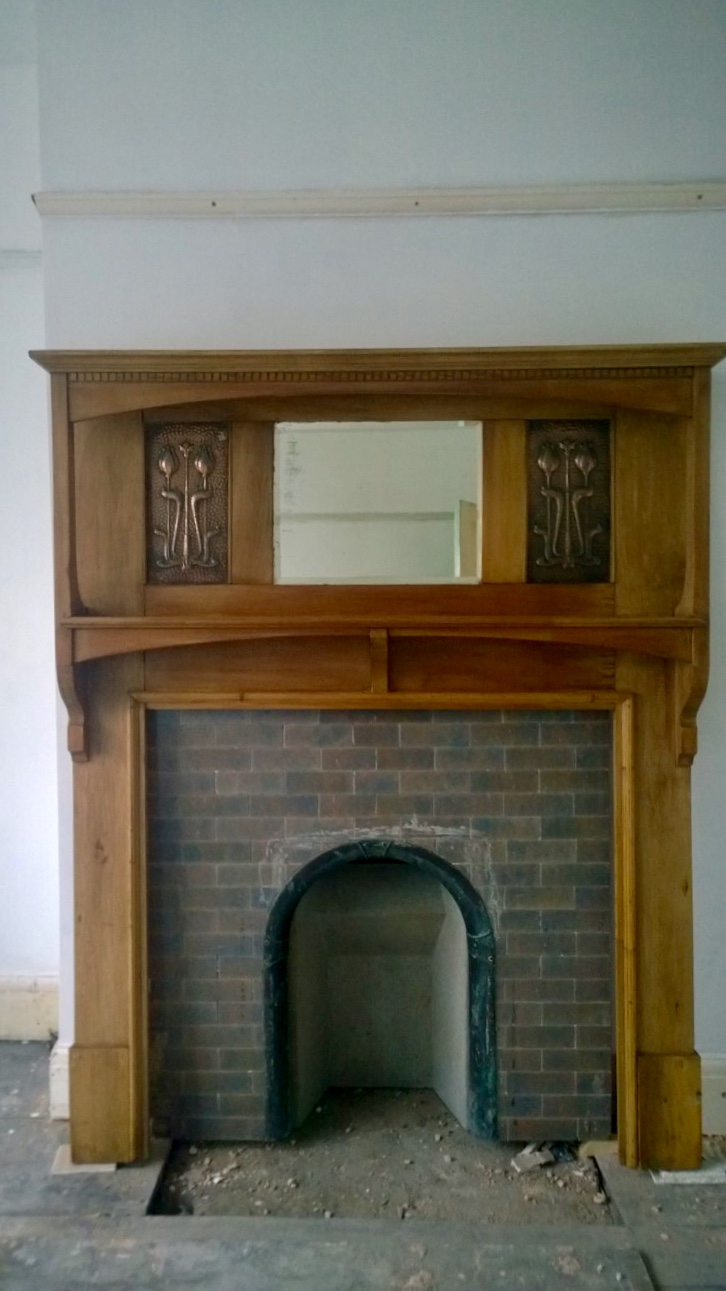 Arts And Crafts Fire Surround With Copper Panels Walcot And Co