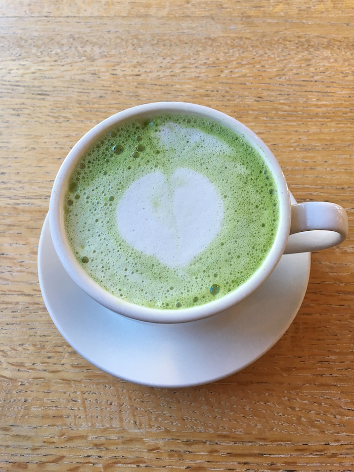 Delicious matcha green tea lattes from  Lil's Cafe - that green color is just gorgeous