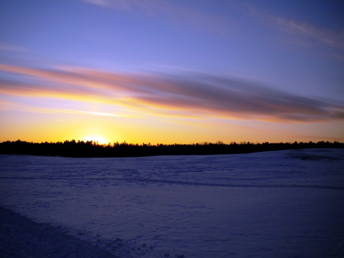 The cool colors of a winter sunset