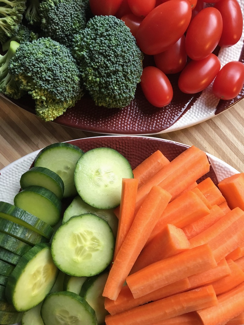 All the fresh veggies for pre-game snacks!