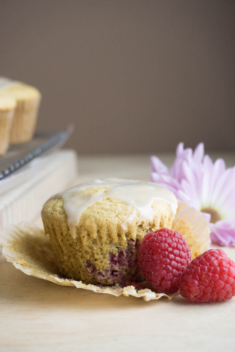 Delicious raspberry muffins with lemon glaze made specifically for my  community of wellness enthusiasts