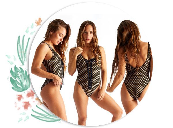 bodysuits - Lace-up one piece body suit. Great for diving or pair with jeans for an on-point casual look!