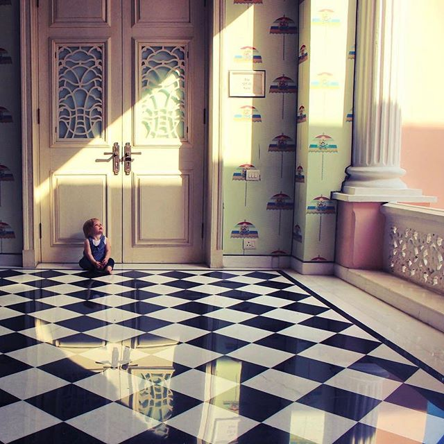 """Sunlight is painting."" ~ Nathaniel Hawthorne // @theworldwidewebers enjoyed the sunlight as it poured into the Sujan Rajmahal Palace in Jaipur, India.  The palace is two and a half centuries old and has been converted to an award-winning, grand heritage hotel. ----  Tag your best #familytravel pictures with #familyjaunts for a chance to be featured.  #getoutside #goadventure #liveauthentic #travelingfamily #ontheroad #exploreeverything #instatravel #littleexplorers #wanderlusting #travelgram #welltravelledkids #littleandbrave #kidstravel #familyadventure #showthemtheworld  #travelwithkids  #neverstopexploring #culturejaunt #hoteljaunt #indiawithkids #sujan #rajmahal #palace #history #sunlight"