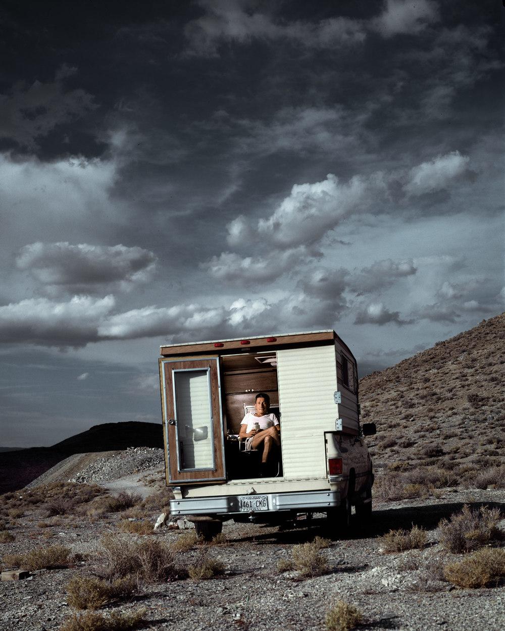 Deaf man in his camper, Mojave Desert.