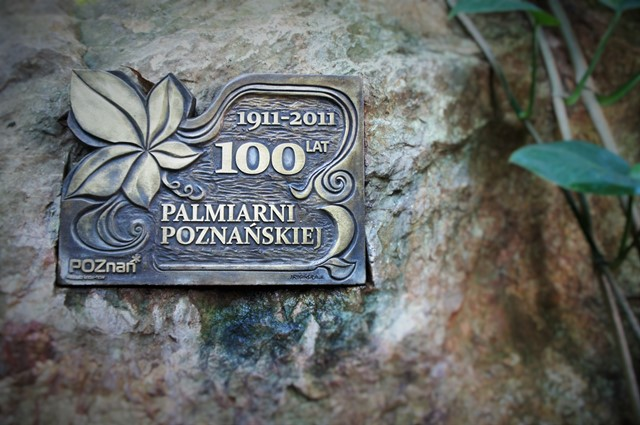 Poznan glasshouse plaque celebrating centenary