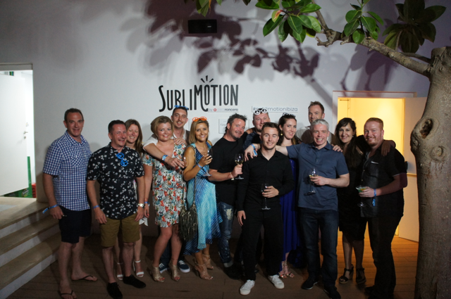 Group of people outside Sublimotion restaurant, Ibiza